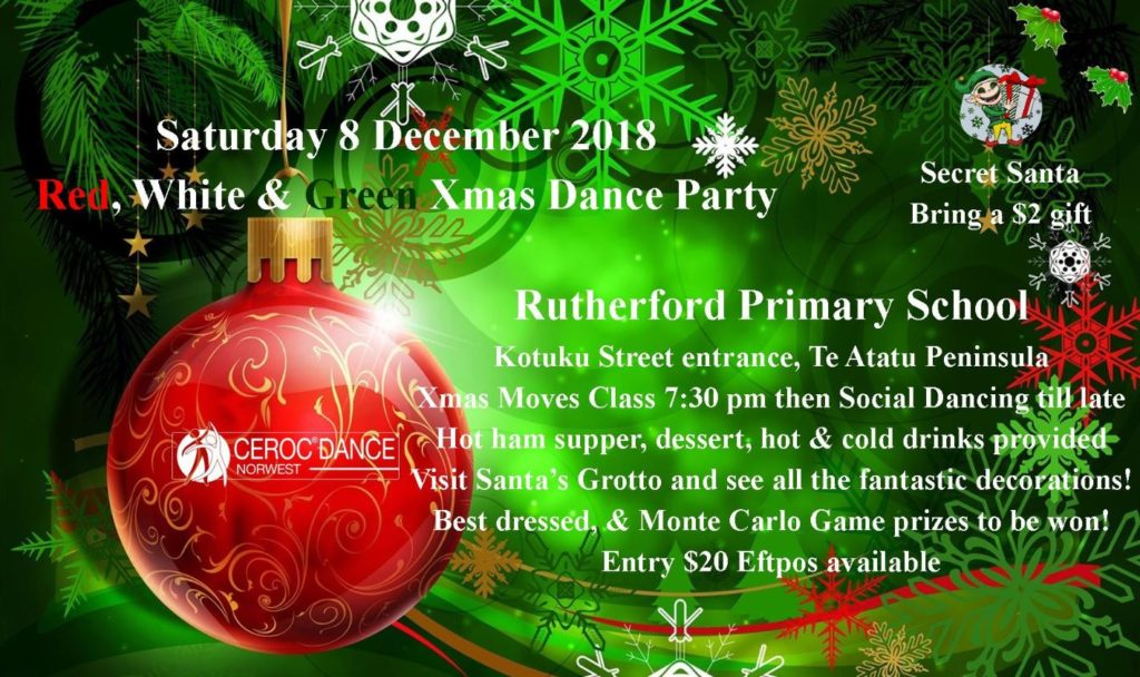 Ceroc Norwest Red, White & Green Xmas Dance Party @ Rutherford Primary School Hall Entrance off Kotuku Street | Auckland | Auckland | New Zealand
